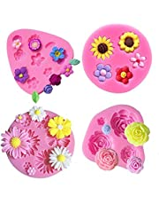 Flower Fondant Cake Molds-4 Pcs-Daisy Flower,Rose Flower,Sunflower and Small Flower,Candy Silicone Molds Set for Chocolate,Fondant,Polymer Clay,Soap,Crafting Projects & Cake Decoration