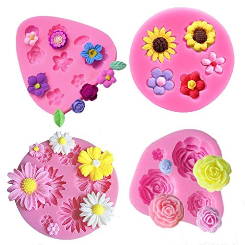 Flower Fondant Cake Molds-4 Pcs-Daisy Flower,Rose Flower,Chrysanthemum Flower and Small Flower,Candy Silicone Molds Set for Chocolate,Fondant,Polymer Clay,Soap,Crafting Projects & Cake Decoration (Cake Fondant Molds)