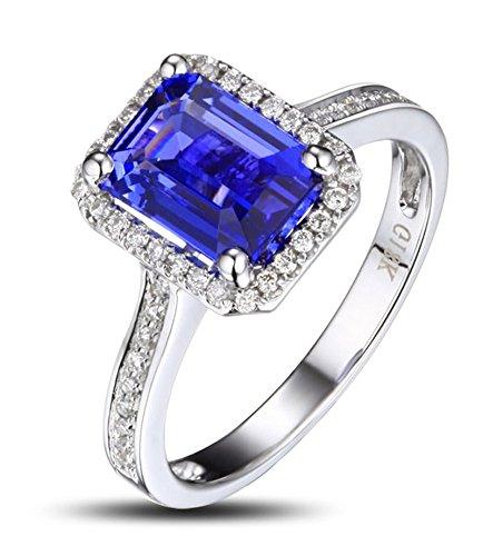 Antiguo 1,50 quilates de corte esmeralda azul zafiro y anillo de compromiso de diamantes