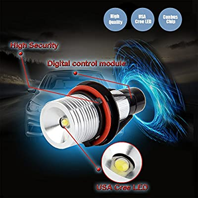 cciyu Ultra White 10W E39 Error Free CREE LED Angel Eyes Halo Ring Marker Bulbs Replacement fit for BMW 5 6 7 Series X3 X5 (Fit E39 E53 E60 E63 E64 E65 E66 E83): Automotive