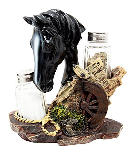 Atlantic Collectibles Western Decor Black Stallion Horse By Wagon Wheel Salt Pepper Shakers Holder Figurine Set 6.25