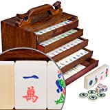 "Vintage Inspired Chinese Mahjong Game Set with Bone and Bamboo Tiles and 5 Drawer Rosewood Box, ""Qilin Kirin Set"""