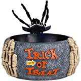 Candy Bowl Holder Skeleton Hand Halloween Decorations Bundle with Trick or Treat Halloween Candy 135 CT. Brachs Chewylicious Mix and 95 CT. Funs Size Skittles, Starburst, and Life Savers