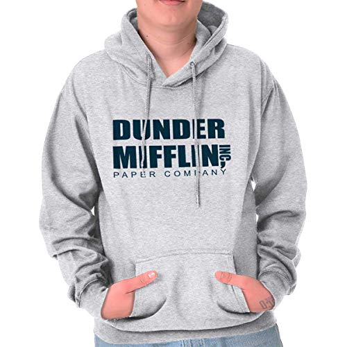 Brisco Brands Dunder Paper Company Mifflin Office TV Show Hoodie Ash Grey