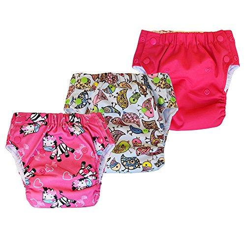 Multi-purpose Potty Training Pants / Swim Cloth Diaper, 3-Pack (Size 1 / 8-25 Lb, Zebra / Bird / - Soaker Pants
