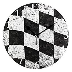 HangWang Wall Clock Chequered Flag Black and White Silent Non Ticking Decorative Round Digital Clocks for Home/Office/School Clock