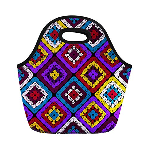 (Semtomn Neoprene Lunch Tote Bag Granny Squares Pattern and Ripples Afghan Crochet of Multicolored Reusable Cooler Bags Insulated Thermal Picnic Handbag for Travel,School,Outdoors, Work)