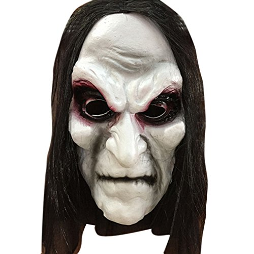 Cheap Scary Masks (RoseSummer Black Long Hair Halloween Mask Full Head Horror Mask Party Goods Cosplay Ghost)