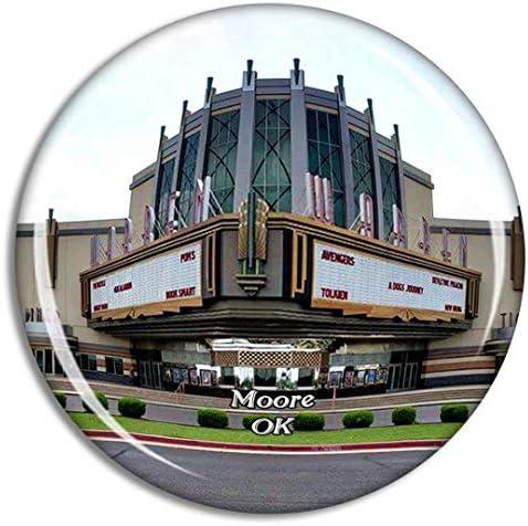 ムーアウォーレンシアターオクラホマ米国冷蔵庫マグネット3Dクリスタルガラス観光都市旅行お土産コレクションギフト強い冷蔵庫ステッカー