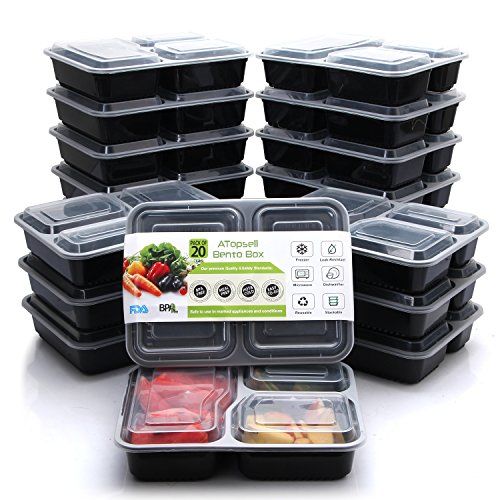 Atopsell 3 Compartment Food Containers 20 Pack 40oz Durable BPA Free Bento Luch Box With Lids Plastic Reusable Food Storage Containers