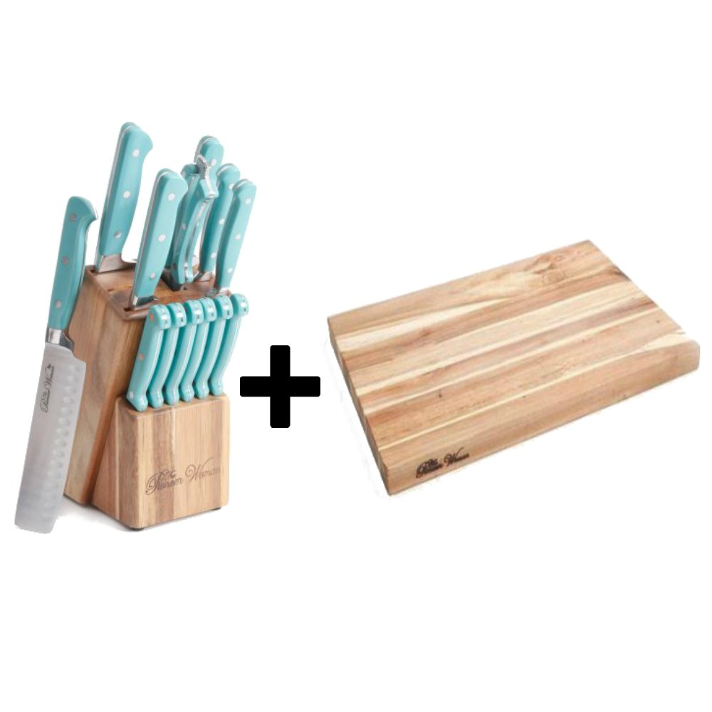 14-Piece Cowboy Rustic Cutlery Set In Turquoise Handle + Cutting Board 12'' x 18'' Acacia Wood - Bundle Set
