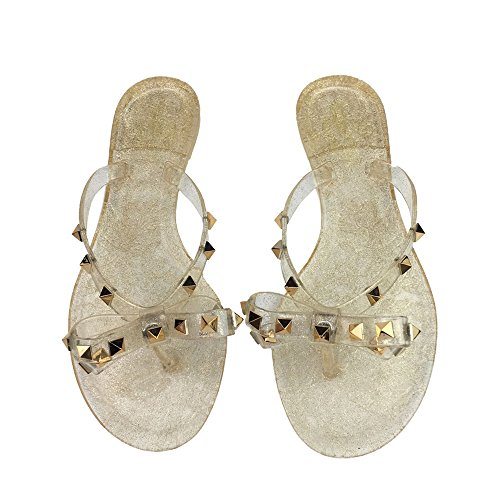 Womens Rivets Bowtie Flip Flops Jelly Thong Sandal Rubber Flat Summer Beach Rain Shoes Gold ()