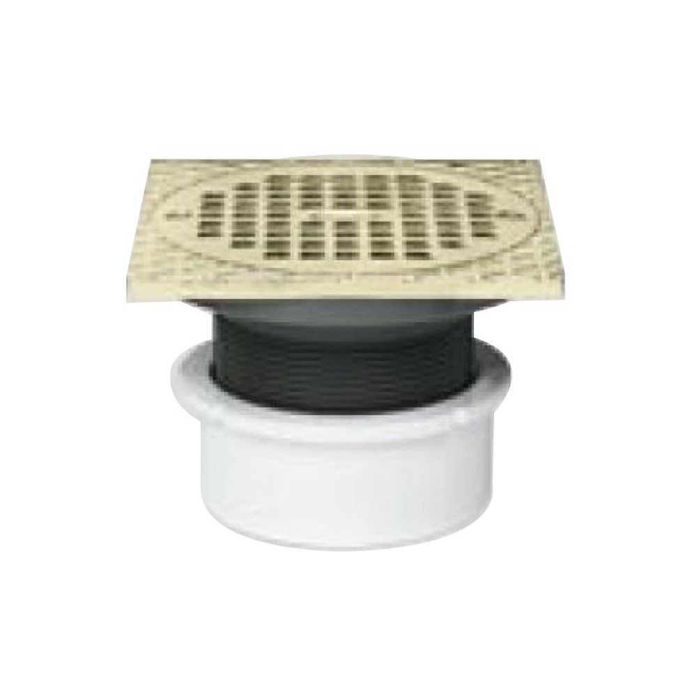Oatey 82049 ABS Hub Base General Purpose Drain with 5-Inch BR Grate and Square Ring 4-Inch