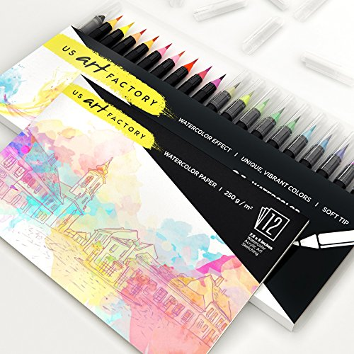 US Art Factory Watercolor Markers – Brush pens with Soft, Flexible Tip | BONUS Watercolor Paper Pad | 20 Vibrant Color Brushes For Painting & Lettering | BONUS E-book and Practice Sheets Photo #3
