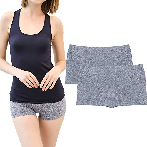 - DEEP TOUCH Women's Seamless Boyshort Panties Nylon Underwear Stretch Boxer Briefs Pack of 2 M Melange