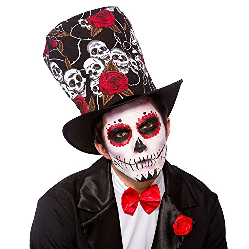 Adult Day Of The Dead Top Hat Fancy Dress Party Accessory Skull Voodoo (Day Of The Dead Hat)