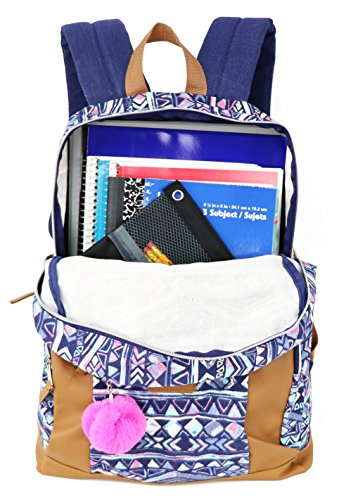 Emma & Chloe Girls Aztec Pom-Pom Vinyl-Base Cotton Backpack (One Size, Aztec Navy) by Trail maker (Image #4)