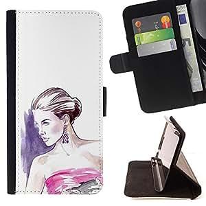 """Bright-Giant (Moda Mujer vestido blanco púrpura"""") Modelo Colorido Cuero Carpeta Tirón Caso Cubierta Piel Holster Funda Protección Para Apple (5.5 inches!!!) iPhone 6+ Plus / 6S+ Plus"""
