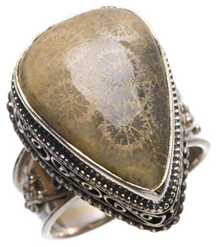 (StarGems Natural Chrysanthemum Jasper Antique Design Handmade Vintage 925Sterling Silver Ring, Size 9 T5575)