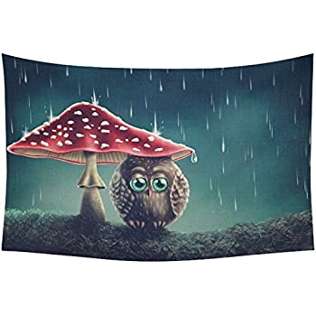 InterestPrint Cute Animal Home Decor Tapestries Wall Art, Little Owl Mushrooms Tapestry Wall Hanging Art Sets 60 X 40 Inches