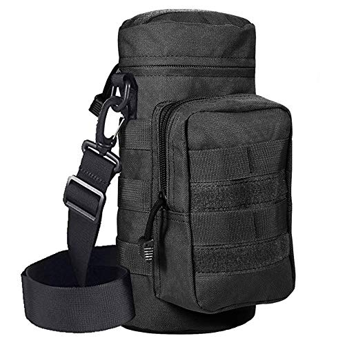 ALTBP Military Sport Bike Tactical Molle Water Bottle Pouch Hydration Carrier Holder (Black with Shoulder Strap)
