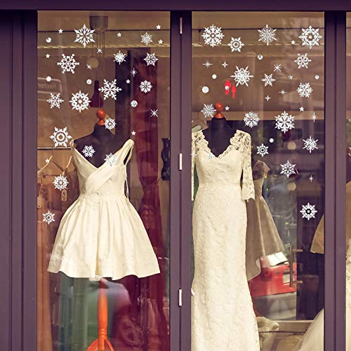 Luxanna White Snowflakes Window Decorations Clings Decal Stickers Winter Wonderland Electrostatic Removable for Christmas Frozen Theme Party New Year Supplies Gold and Silver -
