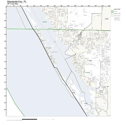 Amazon Com Zip Code Wall Map Of Manasota Key Fl Zip Code Map Not