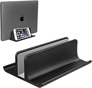 Vertical Laptop Stand Holder Adjustable Desktop Notebook Dock Space-Saving Three-in-one for All MacBook Pro Air, Mac,HP, Dell, Microsoft Surface,Lenovo, up to 17.3 inch Black