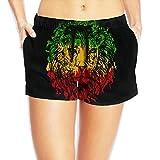 Women's Wide Waistband Swim Shorts Lion Face Rasta Colors Trunks Boyshort Bottoms With Pockets