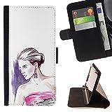 - fashion woman purple white dress - - Premium PU Leather Wallet Case with Card Slots, Cash Detachable Wrist Strap Funny HouseFOR LG Nexus 5 D820 D821