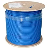 Vertical Cable Cat6A 10G, UTP, 23AWG, Solid Bare Copper, PVC, 1000ft, Blue, Bulk Ethernet Cable