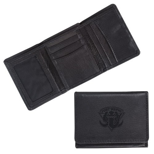 IPFW Canyon Tri Fold Black Leather Wallet 'Primary Mark Engraved' by CollegeFanGear