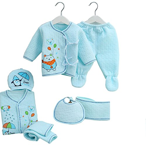 Peak Newborn Caring Clothes Gift Sets 7pcs Essential Layette Animal Rompers With Hat Long Sleeve Jumpsuits 0-3 Month Blue