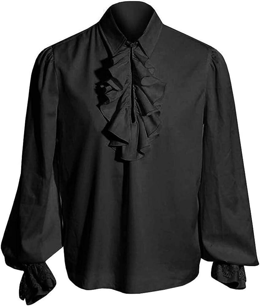 Ericcay Camisa Del Traje Camisa De Los Hombre Camisa Gótica Medieval Hombre Schnürhemd Fisher Ideal Cosplay Con Ropa De Textura Para Juego De Tronos (Color : G-Black, One Size : L)