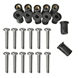 MagiDeal 12 Pack Durable Metric Rubber Well Nuts Blind Fasteners Wellnuts Windscreen Windshield Bolts for Motorcycle Kayak Canoe Boat - Black, Silver, M6 x 30MM