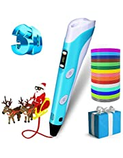 3D Pen for Kids,3D Doodler Pen Kit, Professional 3D Printing Drawing Pen with LED Display and USB Charging, Easy Safe Creative 3D Writing Printer Educational Gift for kids Adults, Include 12 Colors PLA Filament Refills