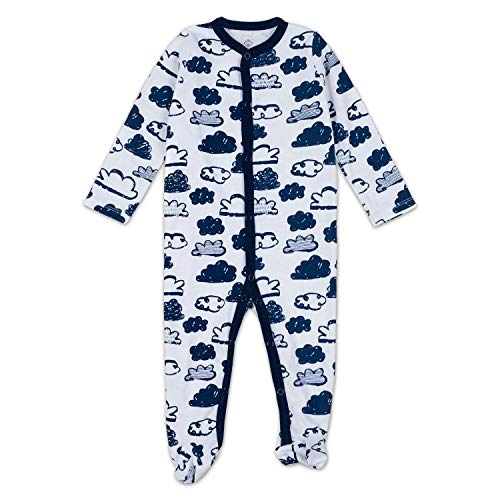 OPAWO Baby Boy Girl Footed Pajama Long Sleeve Sleeper Snap Romper Jumpsuit 0-12 Months (9-12 Months, Cloud) ()