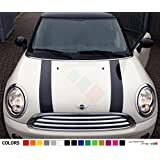 Set of Bonnet Hood Stripes Decal Sticker Graphic Compatible with Mini Cooper S Hatch Hardtop R50/53 R56 F55/56