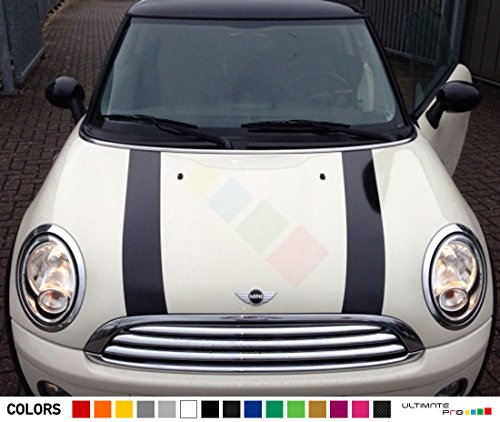 Set of Bonnet Hood Stripes Decal Sticker Graphic Compatible with Mini Cooper S Hatch Hardtop R50/53 R56 ()