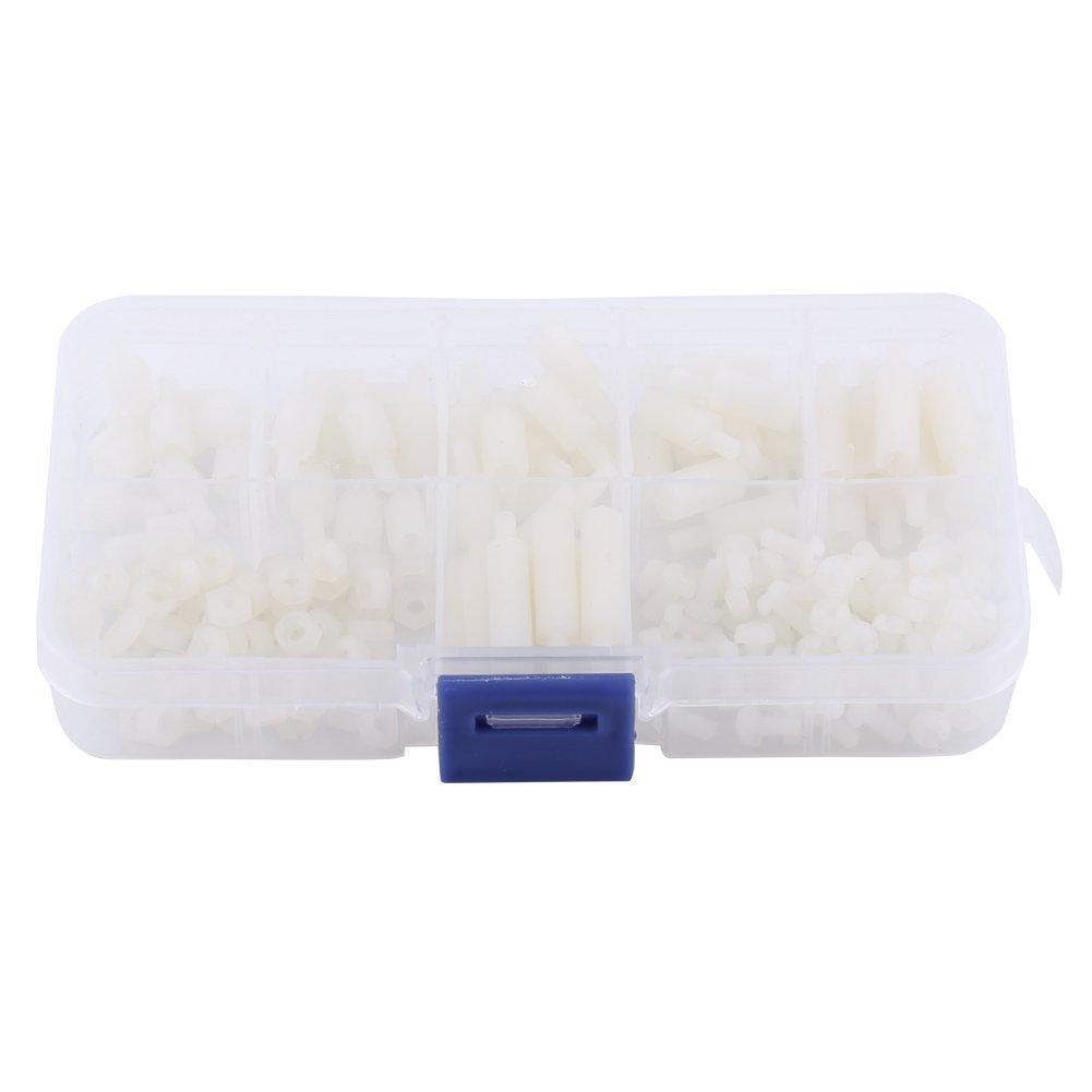 Akozon 180pcs M3 Male Female Non-Conductive Nylon Hex Standoff Bolts Nuts Assortment Set with Plastic Box