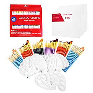 S & E TEACHER'S EDITION Art Party Painting Kit, 6 Easels, 30 Mini Canvas Panels, 24 Paint Tube Set, 50 Brush Sets & Brush Washer