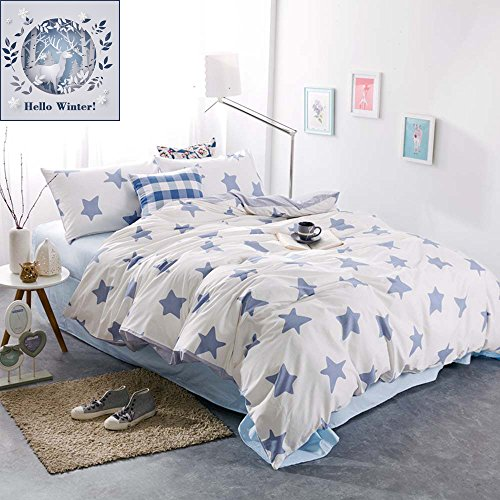 BuLuTu Blue Five-pointed Stars 100% Cotton Hypoallergenic Twin Duvet Cover Sets White Reversible Premium Bedding Collection Sets With 4 Corner Ties For (100% Cotton Stars)