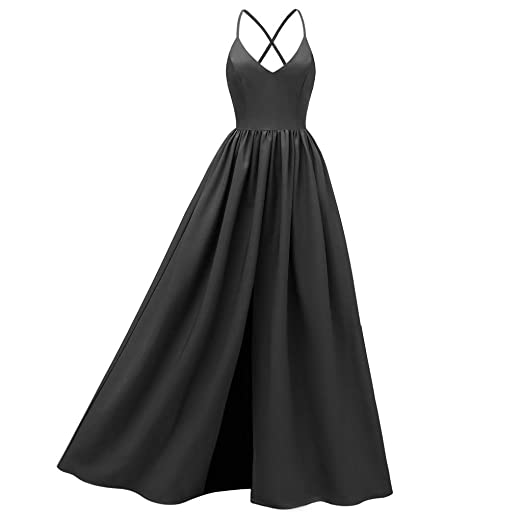 4d3262e6dea1 HCFKJ Women Casual Dress Summer Sleeveless V Neck Solid Backless Vintage  Country Rock Cocktail Maxi Plus