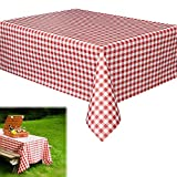 "Dazzling Toys Christmas Vinyl Tablecloth -6 Pack Rectangular Red and White Checkered Gingham Print Table Cloth Runner for Holiday and Party Events | Beach | Camping | Wedding | Birthday - L70"" x W70"