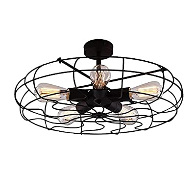 OYI Vintage Industrial Retro Ceiling Chandelier Light,5 Light Close to Ceiling Semi Flush Mount Oil Rubbed Bronze Light Fixtures Fan Cage Style Rustic Pendant Lamp