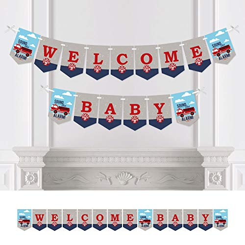 Big Dot of Happiness Fired Up Fire Truck - Firefighter Firetruck Baby Shower Bunting Banner - Party Decorations - Welcome Baby