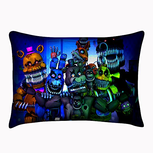 Custom Five Nights At Freddys Pillowcase Zippered Cover Both Sides Pillowslip Size 20X30 Inch