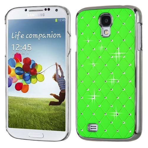 MyBat Samsung Galaxy S 4 Luxurious Lattice Elite Dazzling Back Cover with Diamonds - Retail Packaging - Pearl Green Silver (Plating Executive Cover)