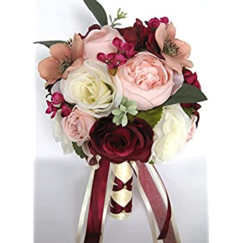 Amazon 17 piece wedding bouquet package bridal bouquets silk 17 piece wedding bouquet package bridal bouquets silk flower bouquet pink blush burgundy mauve bridal flowers mightylinksfo