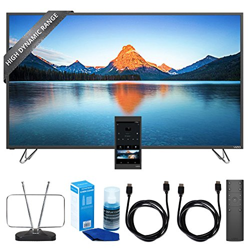 Vizio 55-Inch 4K Ultra HD HDR TV Home Theater Display (M55-D0) w/ TV Cut the Cord Bundle Includes, Durable HDTV & FM Antenna, Universal Screen Cleaner & 2x 6ft High Speed HDMI Cable (Vizio Tablet Charger)